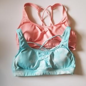 Lot of 2 Aerie strappy sports bras, blue/peach, S